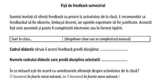 Este oficial: a aparut Formularul de evaluare a profesorilor de catre elevi! Se acorda note de la 1 la 5