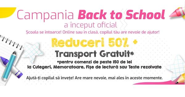 A inceput campania Back to School! 50% REDUCERE la Culegeri, Memoratoare si Fise de lucru pentru clasele 0-XII