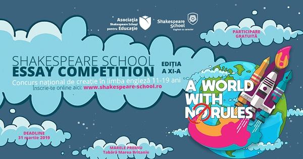 Concurs cu participare gratuita pentru elevi. S-a dat startul inscrierilor la Shakespeare School Essay Competition