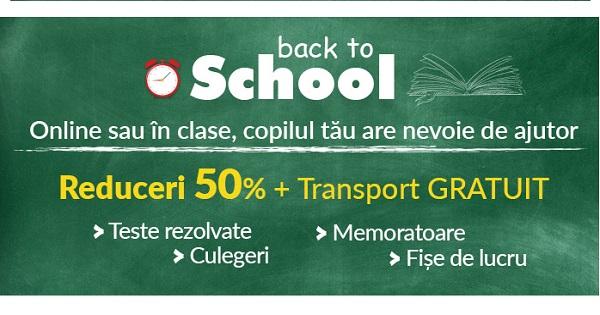 A inceput campania Back to School! 50% REDUCERE la Culegeri, Memoratoare si Fise de lucru pentru clasele I-XII