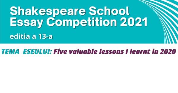 Shakespeare School Essay Competition: incep inscrierile la editia nr. 13, dedicata elevilor de gimnaziu si de liceu