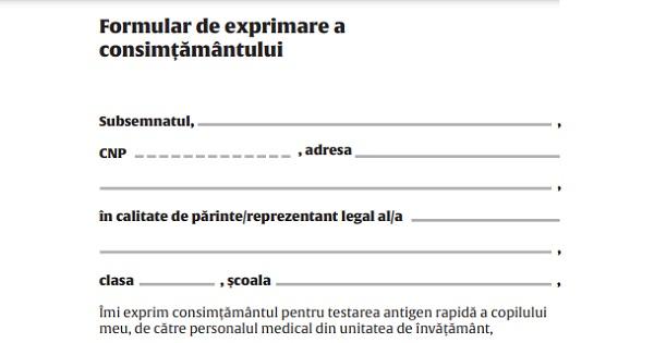 """Cimpeanu, despre formularul semnat de parinti pentru testarea elevilor la scoala: """"Formularul va fi schimbat"""""""