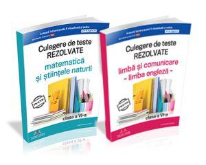 Culegerile de teste rezolvate: Matematica, Stiintele Naturii, Limba engleza si comunicare