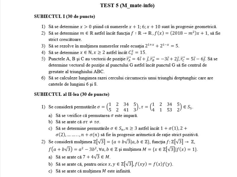 Bacalaureat 2020. Exercitii si rezolvari la Matematica ...