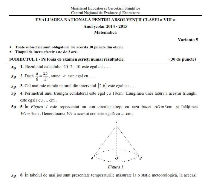 subiecte matematica evaluare nationala