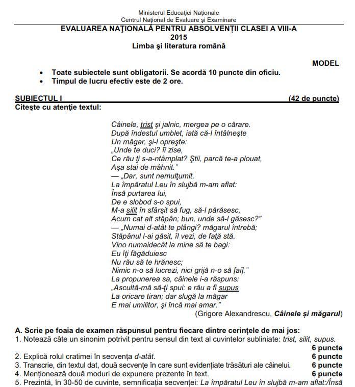 ... 2015 de mai jos model subiecte limba romana evaluare nationala 2015