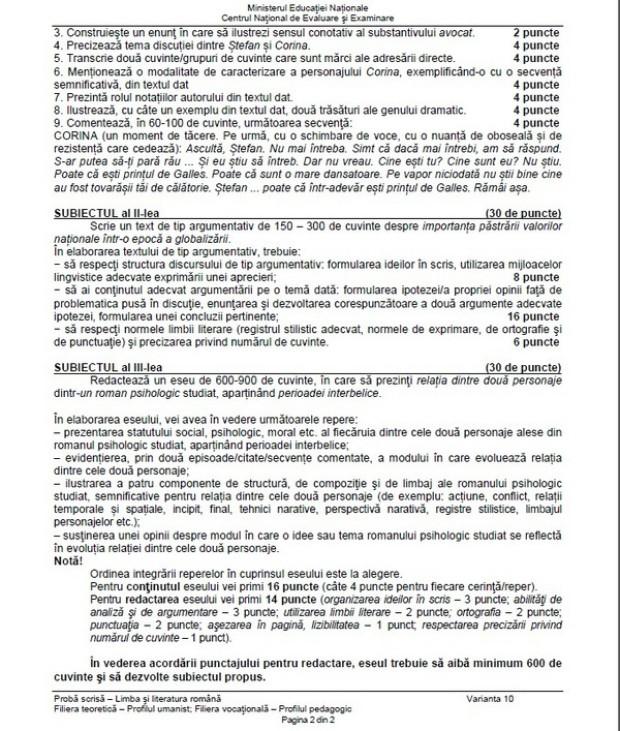 Subiecte bac 2014 limba romana real - partea a 2-a