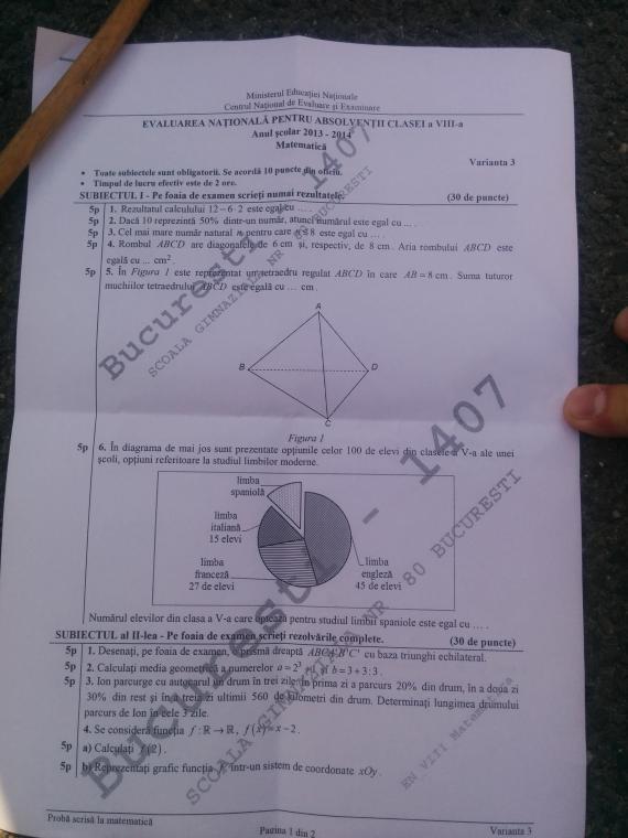 model subiecte matematica evaluare nationala 2014