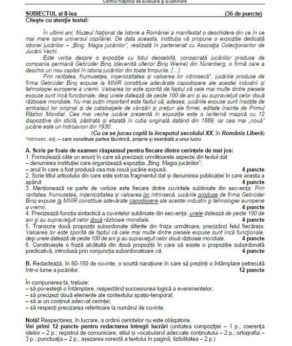 subiecte limba romana evaluare nationala 2015