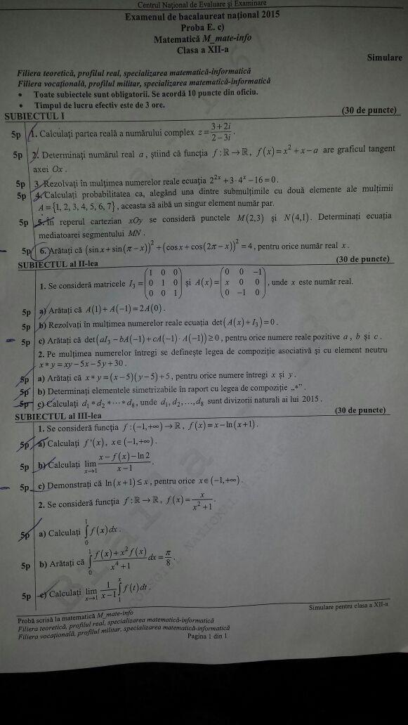 subiecte simulare matematica, profil mate-info